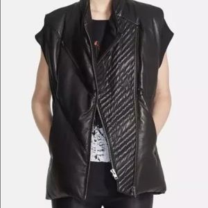 Womens Helmut Lang Leather Down Puffer Vest M